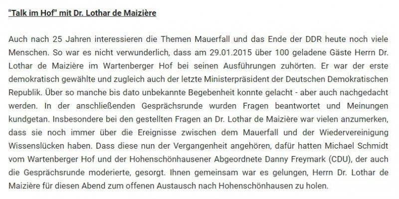 Artikel zum Netzwerktreffen mit Dr. Lothar de Maiziere