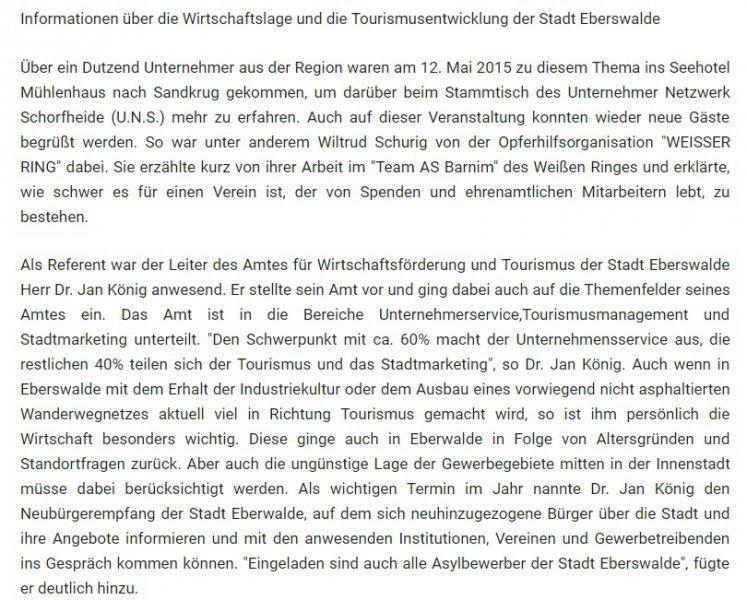 Artikel zum UnternehmerNetzwerk Schorfhheide